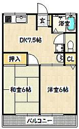 兵庫県神戸市長田区片山町1丁目の賃貸アパートの間取り