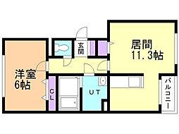 αZoneII 3階1LDKの間取り