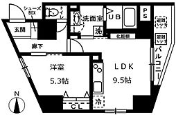 オーヴェルク-II 7階1LDKの間取り