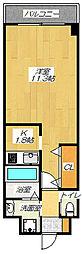 JR片町線(学研都市線) 住道駅 徒歩6分の賃貸マンション 6階1Kの間取り