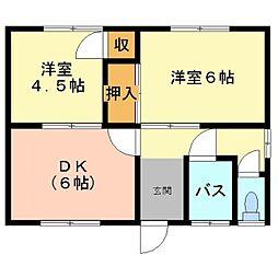 井原鉄道 矢掛駅 徒歩10分の賃貸一戸建て 1階2DKの間取り