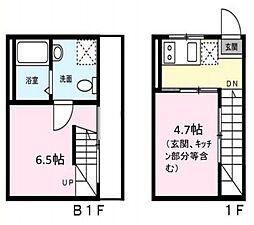 東急東横線 都立大学駅 徒歩10分の賃貸マンション 1階1DKの間取り
