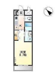 JR総武本線 千葉駅 徒歩13分の賃貸マンション 2階1Kの間取り