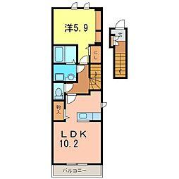 仮)知立市八ツ田町新築アパート[201号室]の間取り