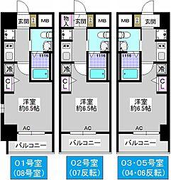 エステムコート難波WEST-SIDEIVザ・フォース[504号室]の間取り