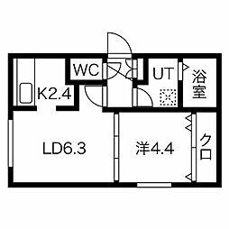 札幌市営東豊線 東区役所前駅 徒歩7分の賃貸マンション 3階1LDKの間取り