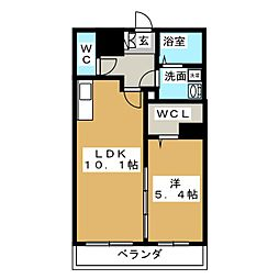 静岡県静岡市駿河区西脇の賃貸マンションの間取り