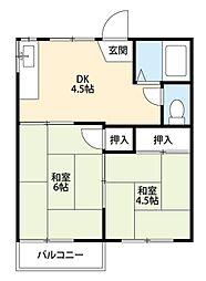 福岡県北九州市小倉北区新高田1丁目の賃貸アパートの間取り
