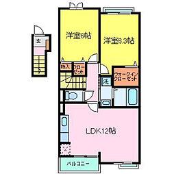 兵庫県加古川市尾上町口里字村内の賃貸アパートの間取り