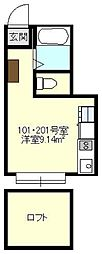 Axia Court Kishiya[201号室号室]の間取り