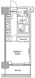 ザ・パークハビオ月島フロント 6階1Kの間取り