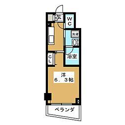 ZOOM横浜関内 6階1Kの間取り