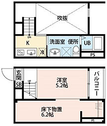 名古屋市営名港線 東海通駅 徒歩9分の賃貸アパート 2階1SKの間取り