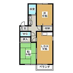 セジュールリベルテA[2階]の間取り