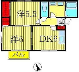 千葉県柏市戸張の賃貸アパートの間取り
