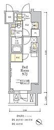 ザ・クラス南麻布 5階ワンルームの間取り