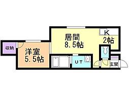 レストヒルズ栄通 2階1LDKの間取り
