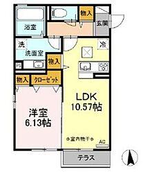 仮 D-room湘南台B棟 2階1LDKの間取り