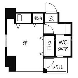 香川県高松市中央町の賃貸マンションの間取り