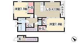 愛知県名古屋市守山区上志段味稲堀新田の賃貸アパートの間取り