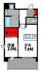 JR鹿児島本線 香椎駅 徒歩2分の賃貸マンション 6階1DKの間取り