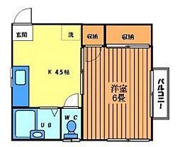 東京都世田谷区下馬6丁目の賃貸アパートの間取り