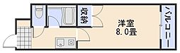 サンローレル串戸 6階1Kの間取り