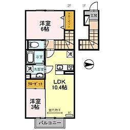 仮 D-room須賀町[202号室]の間取り