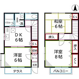 [テラスハウス] 東京都小金井市本町3丁目 の賃貸【/】の間取り