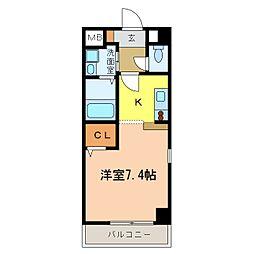 南海高野線 千代田駅 4分 アウローラ冨士 3階1Kの間取り