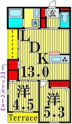 (仮称)南花畑2丁目メゾン 1階2LDKの間取り