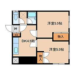 奈良県奈良市後藤町の賃貸マンションの間取り