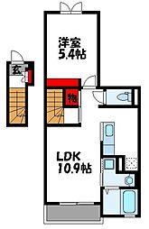 リバーサイド島の元 2階1LDKの間取り