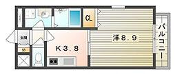 大阪府四條畷市砂2丁目の賃貸アパートの間取り