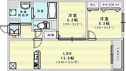 Adi 1 2階2LDKの間取り