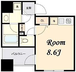 東京メトロ日比谷線 茅場町駅 徒歩5分の賃貸マンション 7階ワンルームの間取り