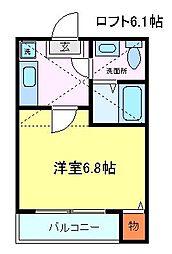 仙台市営南北線 愛宕橋駅 徒歩11分の賃貸アパート 2階1Kの間取り