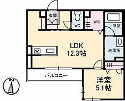 JR山陽本線 五日市駅 徒歩16分の賃貸マンション 1階1LDKの間取り