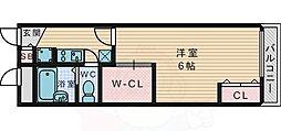 JR片町線(学研都市線) 藤阪駅 徒歩20分の賃貸アパート 2階1Kの間取り