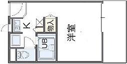 南海線 春木駅 徒歩8分の賃貸アパート 2階1Kの間取り