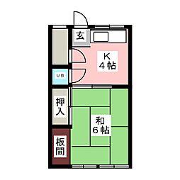 タモオカ荘[1階]の間取り