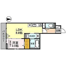 南海高野線 金剛駅 徒歩4分の賃貸アパート 2階1LDKの間取り