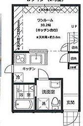 PRIMA GARDEN 所沢弐番館 2階1Kの間取り