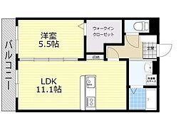 (仮)ユーミー日岡 1階1LDKの間取り