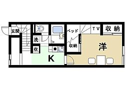 近鉄天理線 天理駅 バス10分 佐保の庄下車 徒歩27分の賃貸アパート 2階1Kの間取り