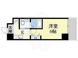 南海高野線 萩ノ茶屋駅 徒歩2分の賃貸マンション 6階1Kの間取り