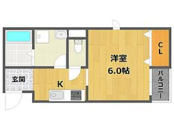 兵庫県伊丹市伊丹3丁目の賃貸アパートの間取り
