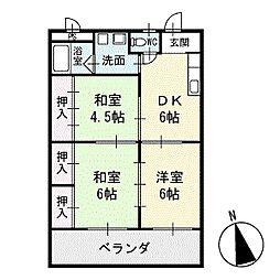 リバーイースト浅井 2階[201号室]の間取り