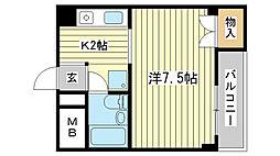 ジュネス船場[402号室]の間取り