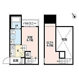 JR鹿児島本線 南福岡駅 徒歩7分の賃貸アパート 1階ワンルームの間取り